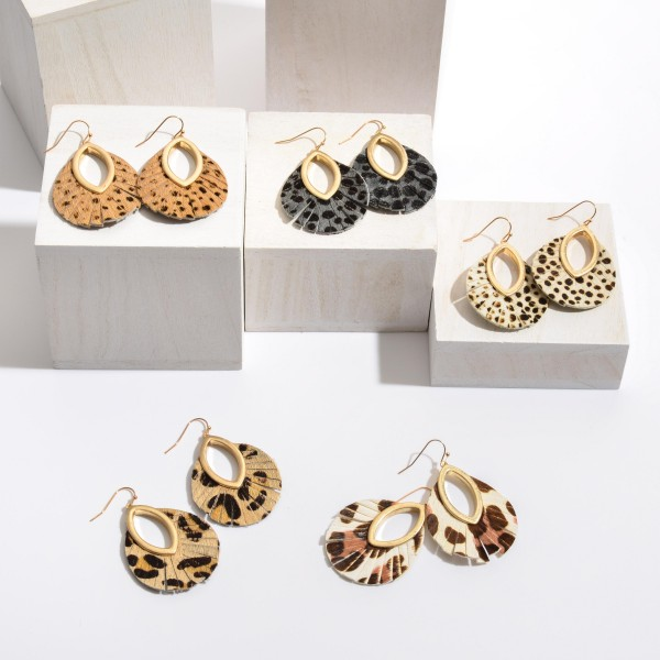 """Genuine Leather Cheetah Print Cut Out Drop Earrings.  - Approximately 2"""" in Length"""