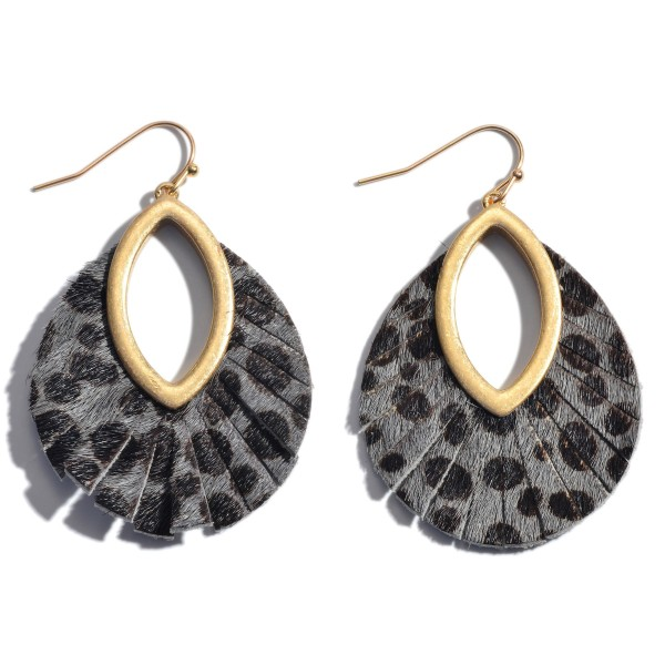 "Genuine Leather Cheetah Print Cut Out Drop Earrings.  - Approximately 2"" in Length"