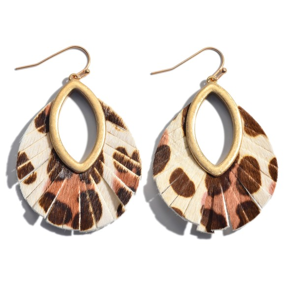 "Genuine Leather Leopard Print Cut Out Drop Earrings.  - Approximately 2"" in Length"