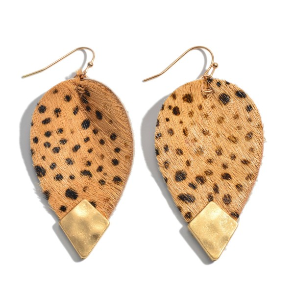 """Inverted Genuine Leather Cheetah Print Teardrop Earrings Featuring a Gold Accent.  - Approximately 2.25"""" in Length"""