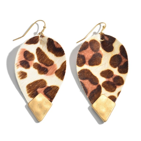"Inverted Genuine Leather Leopard Print Teardrop Earrings Featuring a Gold Accent.  - Approximately 2.25"" in Length"