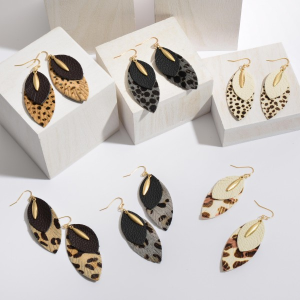 "Genuine Leather Leopard Print Layered Drop Earrings.  - Approximately 2.5"" in Length"