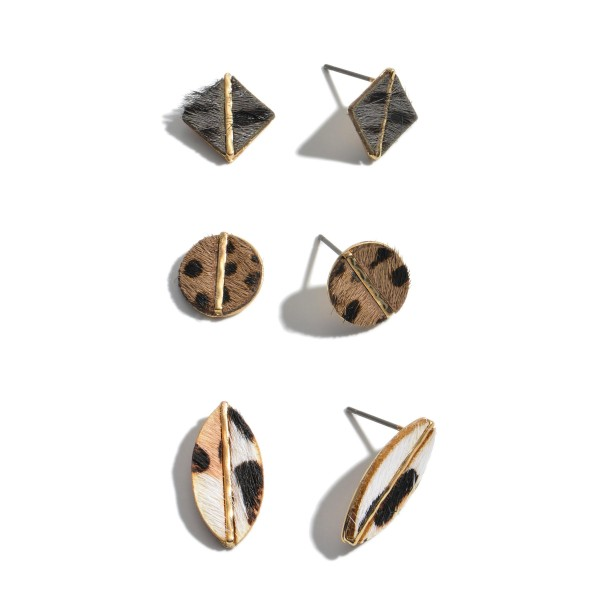 """3 PC Genuine Leather Multi Leopard Print Stud Earring Set.  - 3 Pair Per Set - Approximately .5' - .75"""" in Size"""