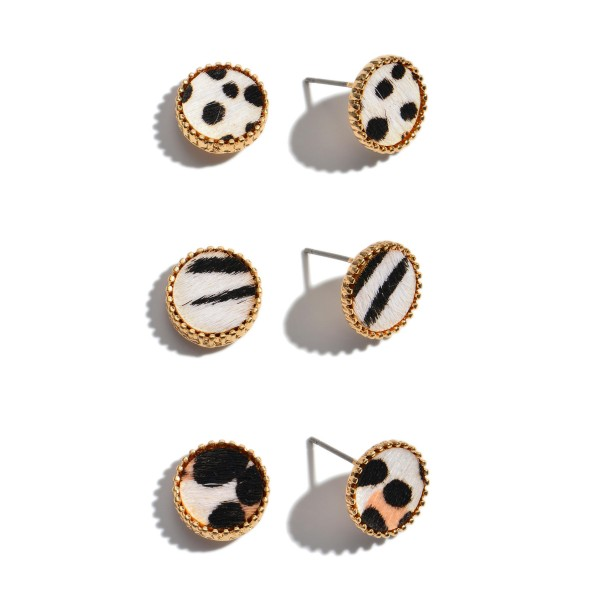 3 PC Genuine Leather Multi Animal Print Button Stud Earring Set.  - 3 Pair Per Set - Approximately 10mm in Diameter
