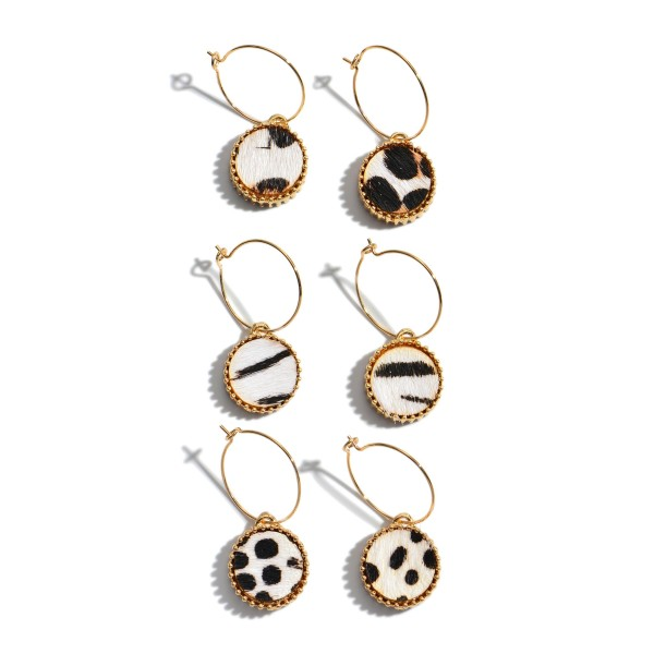 "3 PC Multi Genuine Leather Animal Print Drop Hoop Earring Set.  - 3 Pair Per Set - Approximately 1"" in Length"