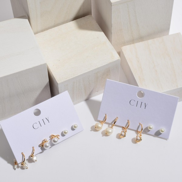 """3 PC Ivory Pearl Stud Earrings Set.  - 3 PC Per Set - Approximately 6mm - .75"""" in Size"""