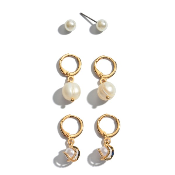 """3 PC Ivory Pearl Hoop Earring Set.  - 3 Pair Per Set - Approximately 6mm - .75"""" in Length"""