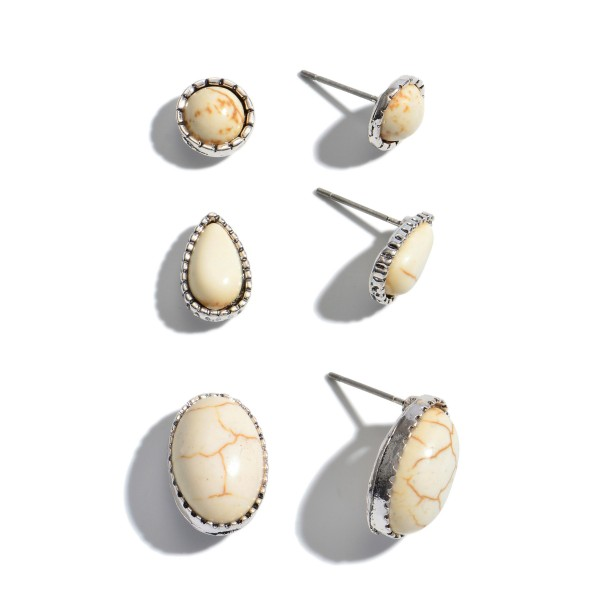 "3 PC Natural Stone Stud Earring Set.  - 3 Pair Per Set - Approximately 1cm - .5"" in Diameter"