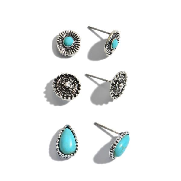 3 PC Natural Stone Stud Earring Set.  - 3 Pair Per Set - Approximately 8mm in Diameter