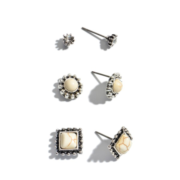 """3 PC Natural Stone Stud Earring Set.  - Approximately 2mm - .5"""" in Size"""