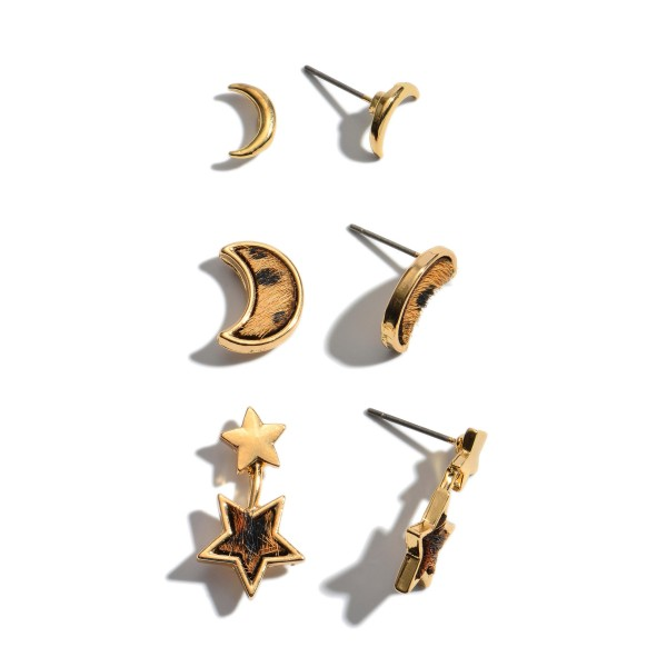 """3 PC Genuine Leather Moon & Star Leopard Print Stud Earring Set.  - 3 Pair Per Set - Approximately 9mm - .75"""" in Size"""