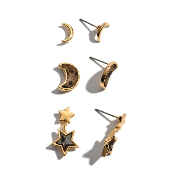 "3 PC Genuine Leather Moon & Star Leopard Print Stud Earring Set.  - 3 Pair Per Set - Approximately 9mm - .75"" in Size"
