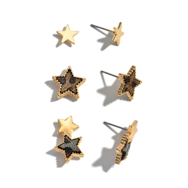 3 PC Genuine Leather Leopard Print Star Stud Earring Set.  - 3 Pair Per Set - Approximately 1cm - .75""