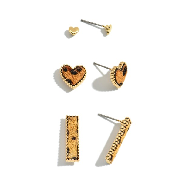 3 PC Genuine Leather Leopard Print Heart Stud Earring Set.  - 3 Pair Per Set - Approximately 2mm - .75""
