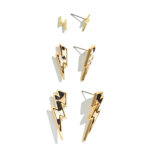 3 PC Genuine Leather Leopard Print Lightning Bolt Stud Earring Set.  - 3 Pair Per Set - Approximately 1cm - 1""