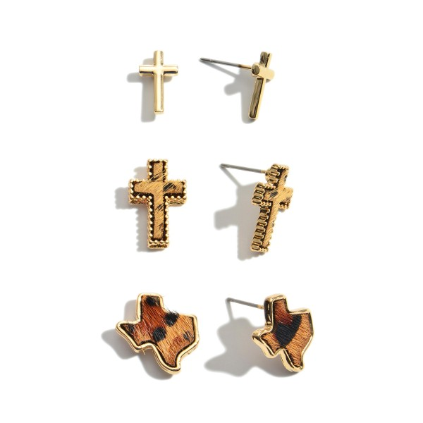 "3 PC Genuine Leather Leopard Print Texas State Cross Stud Earring Set.  - 3 Pair Per Set - Approximately .75"" in Size"