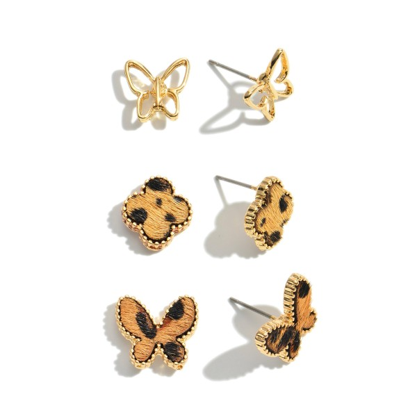 3 PC Genuine Leather Leopard Print Butterfly Stud Earrings.  - Approximately .5""