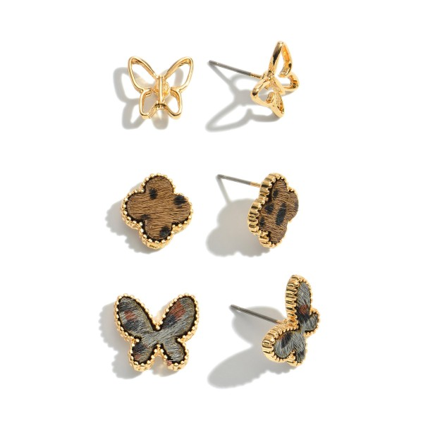 """3 PC Genuine Leather Leopard Print Butterfly Stud Earrings.  - Approximately .5"""""""