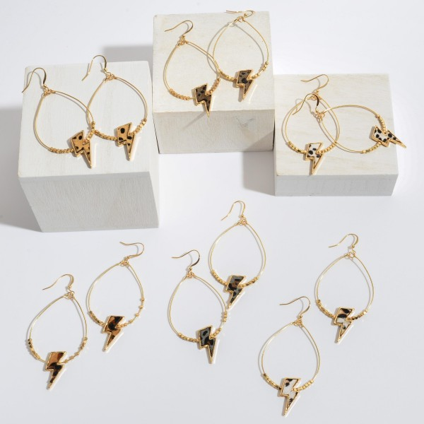 """Beaded Genuine Leather Leopard Print Lightning Bolt Drop Earrings in Gold.  - Approximately 3"""" in Length"""