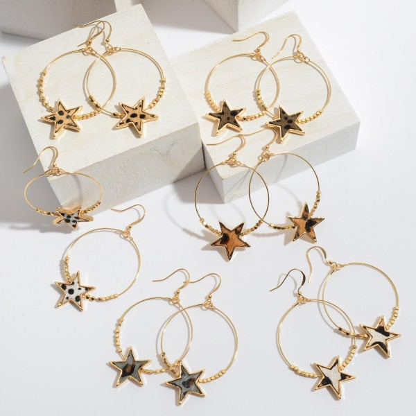 "Beaded Genuine Leather Cheetah Print Star Drop Earrings in Gold.  - Approximately 2.25"" in Length"
