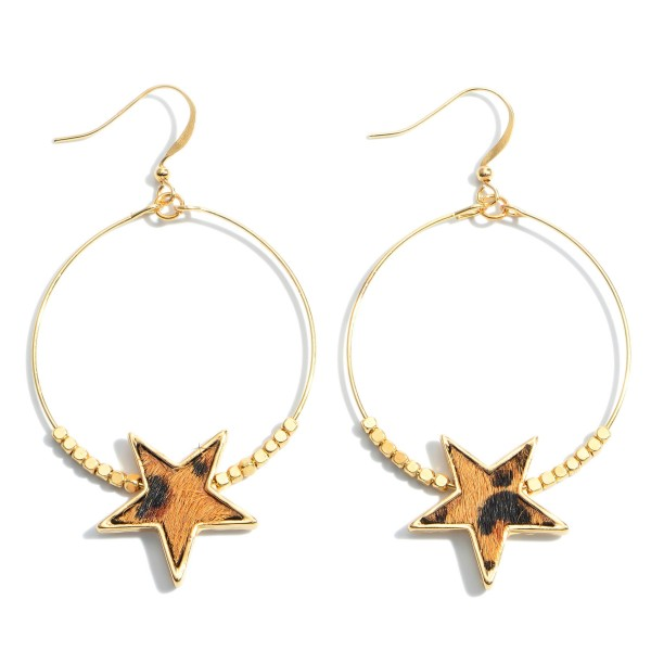 """Beaded Genuine Leather Leopard Print Star Drop Earrings in Gold.  - Approximately 2.25"""" in Length"""