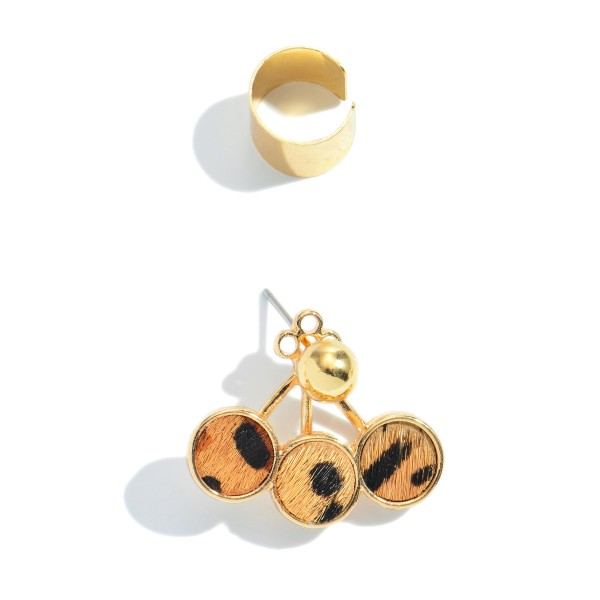 """2 PC Genuine Leather Animal Print Ear Cuff Set in Gold.  - 2 PC Per Set - Approximately 1"""""""