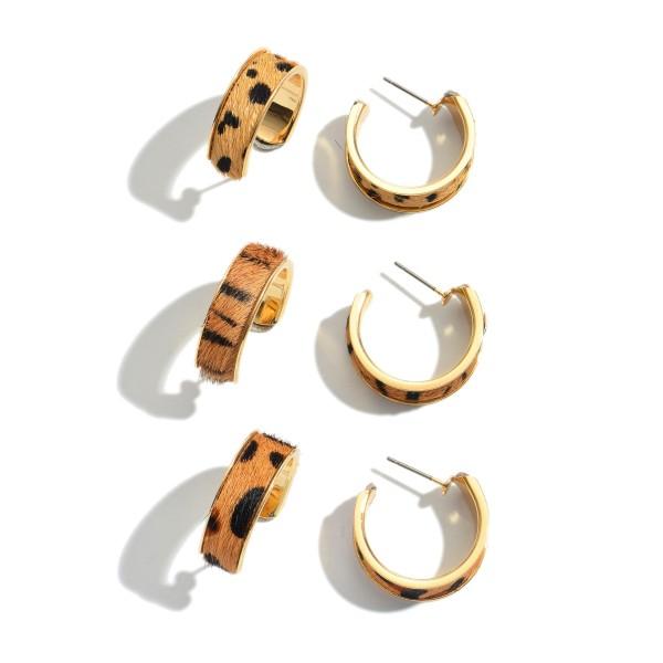 """3 PC Genuine Leather Multi Animal Print Hoop Earring Set.  - 3 Pair Per Set - Approximately 1"""" Hoop Diameter"""