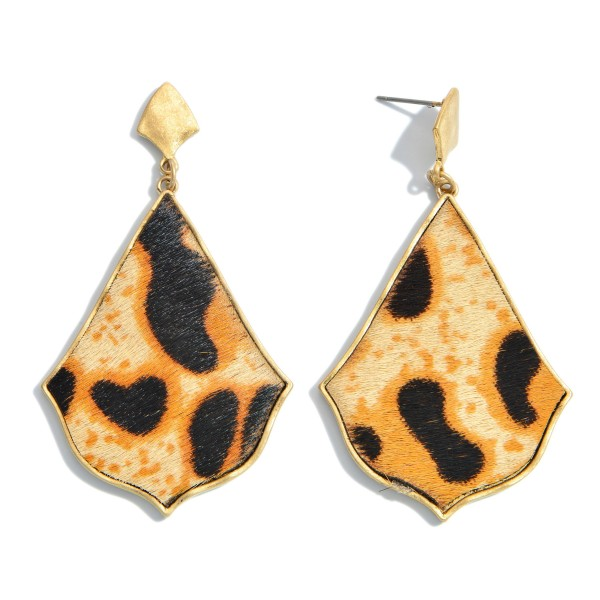 """Genuine Leather Animal Print Moroccan Teardrop Earrings.  - Approximately 2.5"""" in Length"""