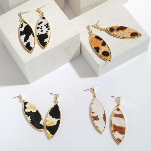 """Pointed Genuine Leather Animal Print Drop Earrings.  - Approximately 2.5"""" in Length"""