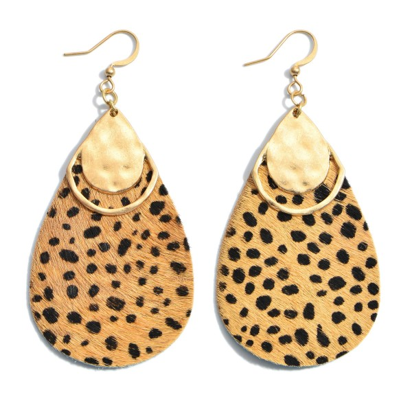 """Genuine Leather Cheetah Print Teardrop Earrings Featuring a Gold Metal Accent.  - Approximately 2.5"""" in Length"""