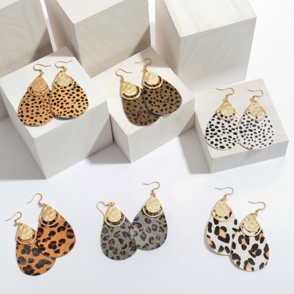 "Genuine Leather Leopard Print Teardrop Earrings Featuring a Gold Metal Accent.  - Approximately 2.5"" in Length"