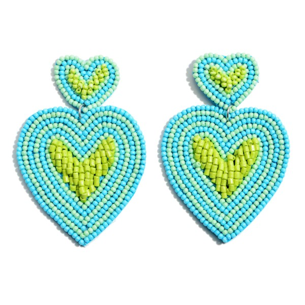 "Three Tone Seed Beaded Heart Felt Statement Earrings.  - Approximately 2.5"" x 1.5"""