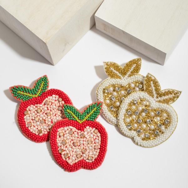 "Seed Beaded Apple Felt Statement Earrings Featuring Pearl & Rhinestone Accents.  - Approximately 2.5"" x 2.5"""