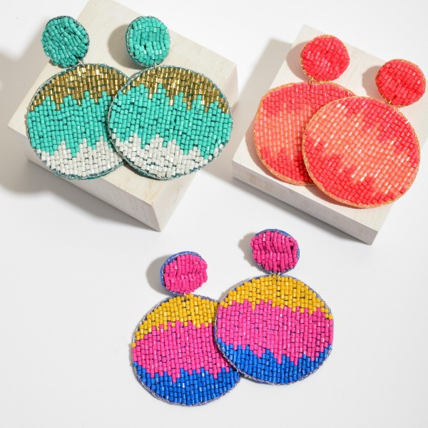 "Three Tone Seed Beaded Felt Statement Drop Earrings.  - Approximately 3"" x 2.25"""