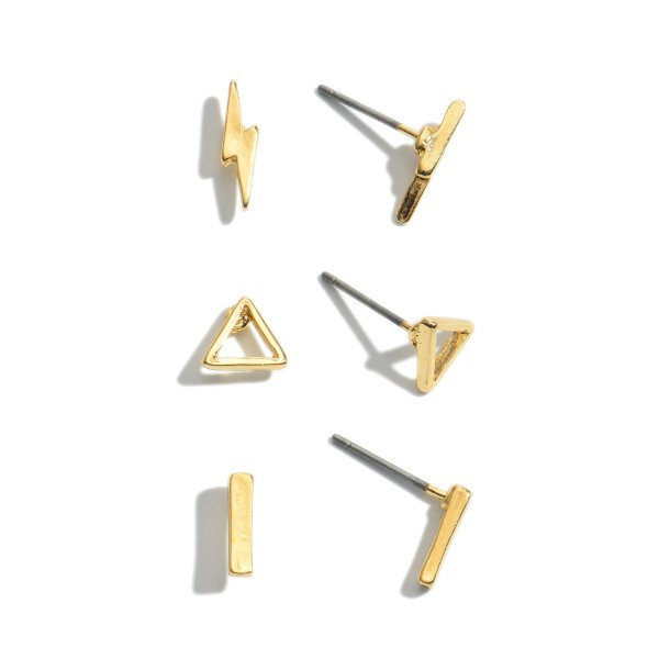3 PC Geometric Lightning Bolt Stud Earring Set.  - 3 Pair Per Set - Approximately 1cm in Size