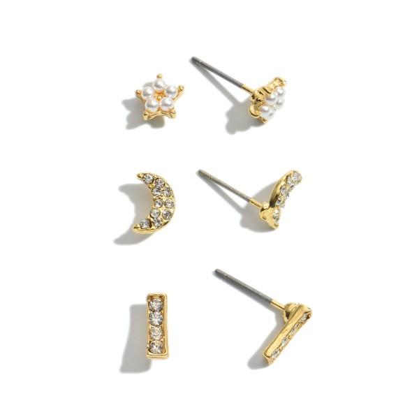 3 PC Rhinestone Pearl Moon & Star Stud Earring Set.  - 3 Pair Per Set - Approximately 1cm