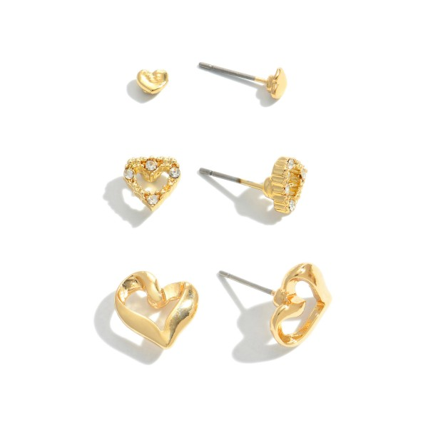 3 PC Rhinestone Heart Stud Earrings in Gold.  - 3 Pair Per Set - Approximately 2mm - .5""