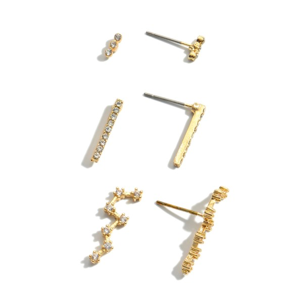 """3 PC Cubic Zirconia Decor Stud Earring Set.  - 3 Pair Per Set - Approximately 3mm - 1"""" in Length"""