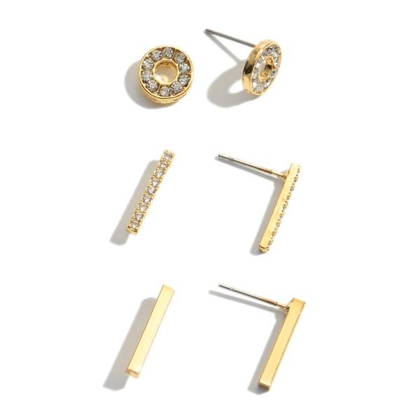 "3 PC Cubic Zirconia Bar Stud Earring Set.  - 3 Pair Per Set - Approximately 8mm - .75"""
