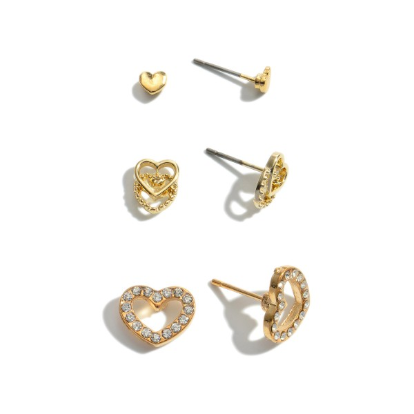 3 PC Rhinestone Heart Stud Earring Set in Gold.  - 3 Pair Per Set - Approximately 2mm - .5""