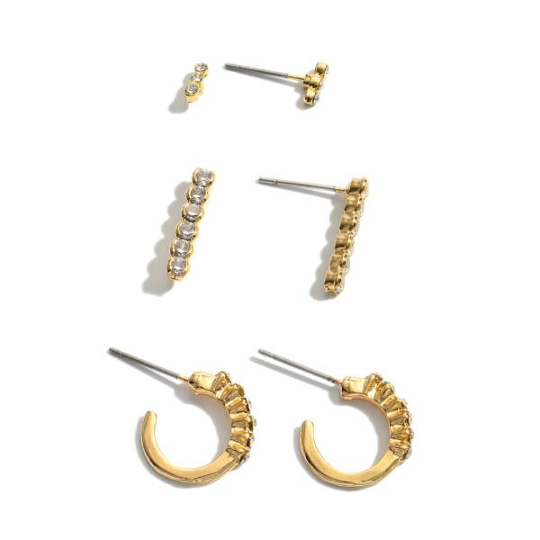 3 PC Cubic Zirconia Earring Set.  - 3 Pair Per Set - Approximately 3mm - .75""