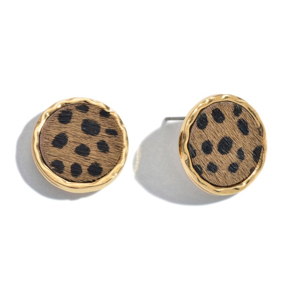 "Genuine Leather Cheetah Print Button Stud Earrings.  - Approximately .75"" in Diameter"
