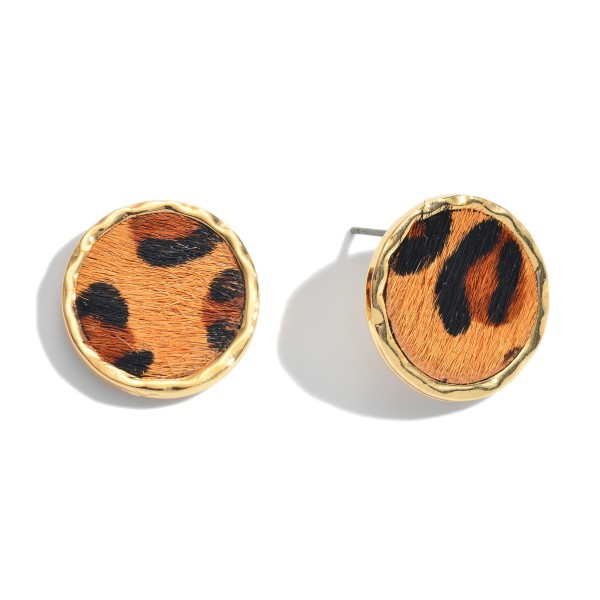"Genuine Leather Leopard Print Button Stud Earrings.  - Approximately .75"" in Diameter"