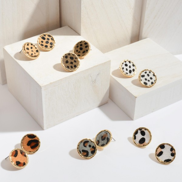 """Genuine Leather Leopard Print Button Stud Earrings.  - Approximately .75"""" in Diameter"""