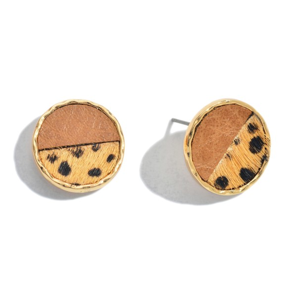 "Genuine Leather Animal Print Button Stud Earrings.  - Approximately .75"" in Diameter"