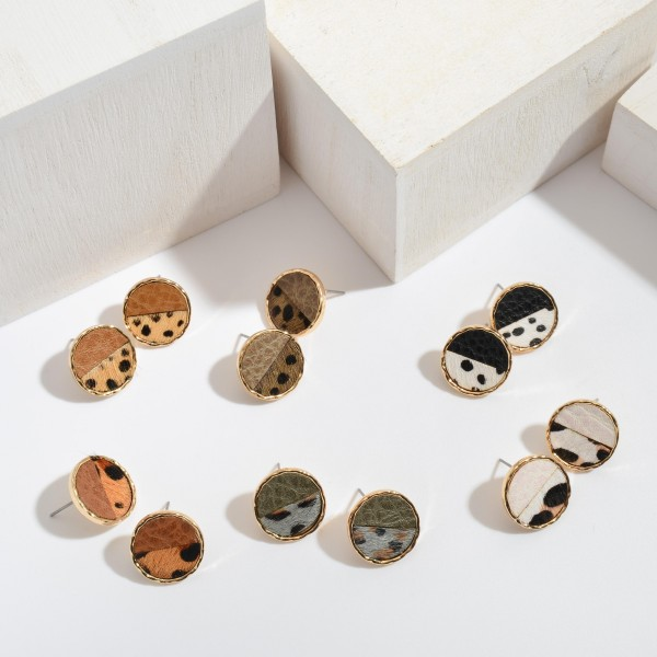 """Genuine Leather Animal Print Button Stud Earrings.  - Approximately .75"""" in Diameter"""