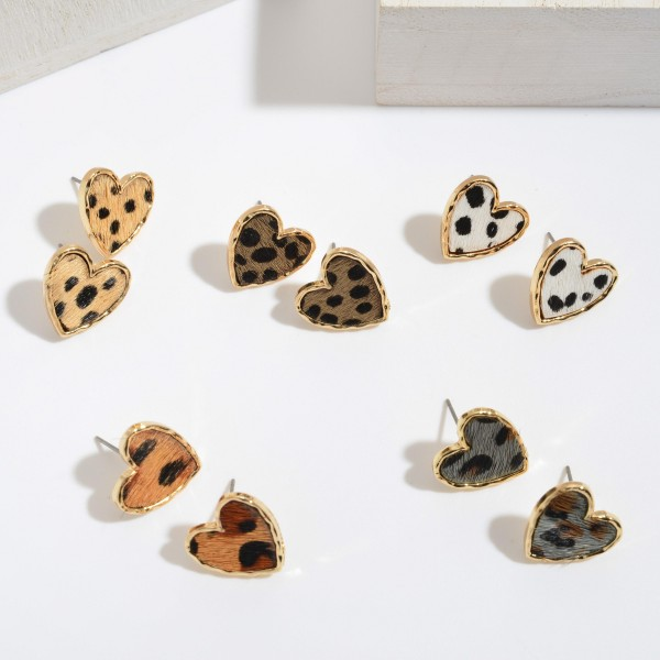"Genuine Leather Cheetah Print Heart Stud Earrings.  - Approximately .75"" in Size"