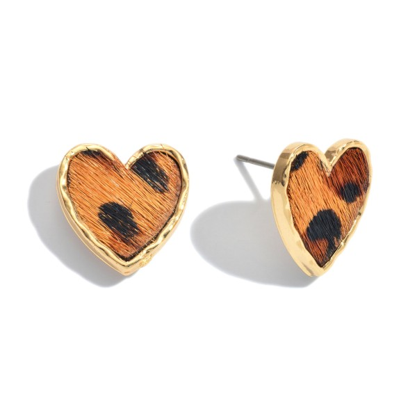 "Genuine Leather Leopard Print Heart Stud Earrings.  - Approximately .75"" in Size"