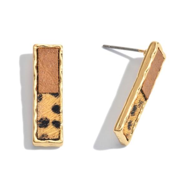 "Genuine Leather Animal Print Bar Stud Earrings.  - Approximately 1"" Long"