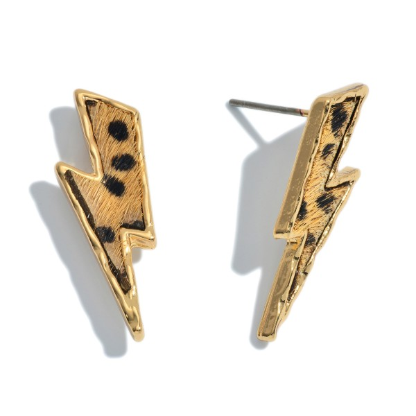 "Genuine Leather Cheetah Print Lightning Bolt Stud Earrings.  - Approximately 1"" Long"